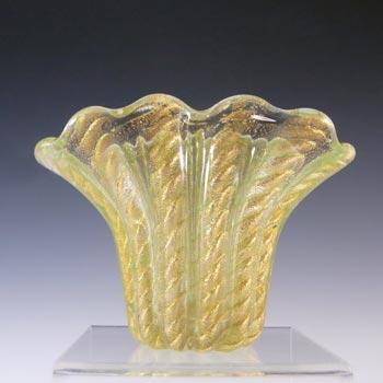 Barovier & Toso Murano Vintage Cordonato Oro Gold Leaf Glass Vase
