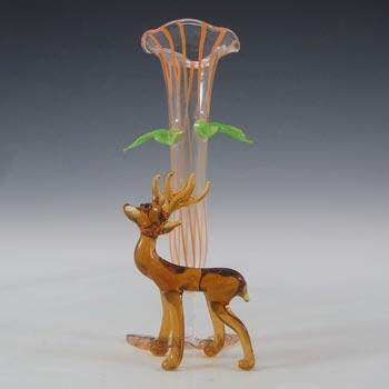 Bimini or Lauscha Orange & Brown Lampworked Glass Deer Vase
