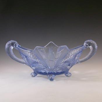 Brockwitz Art Deco Blue Glass Serpent Centerpiece Bowl