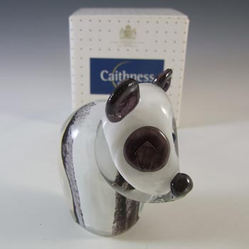 BOXED Caithness Crystal Black & White Glass Panda Paperweight