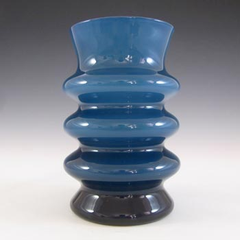 Aseda Swedish Blue Hooped Glass Vase by Bo Borgstrom
