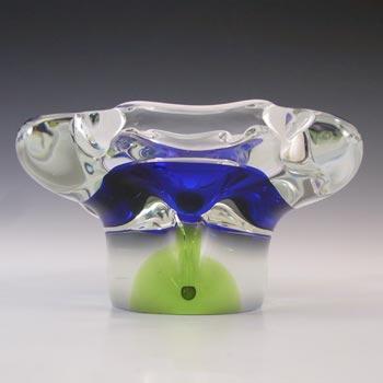 Chribska Czech Vintage Blue & Green Glass Sculpture Bowl