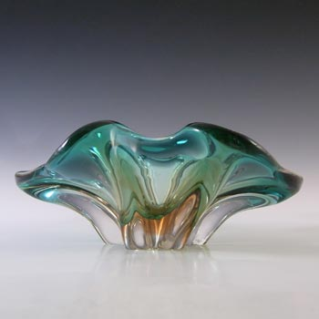 Cristallo Venezia Murano Green & Amber Sommerso Glass Sculpture Bowl