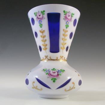Crystalex Czech Enamelled Blue & White Overlay / Cut Glass Vase