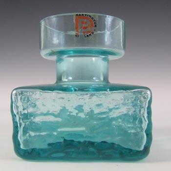 Dartington #FT98 Frank Thrower Kingfisher Blue Glass Bark Vase