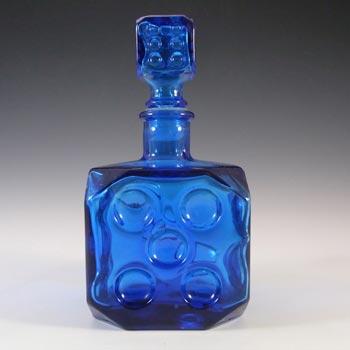 Empoli Italian Vintage Blue Glass Dice Decanter / Bottle