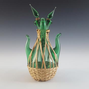 Empoli Verde Italian Green Glass Vase / Vinegar & Oil Dispenser