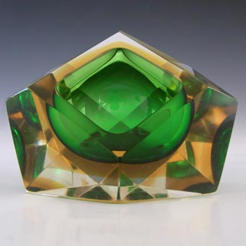 Murano Faceted Green & Amber Sommerso Glass Vintage Block Bowl