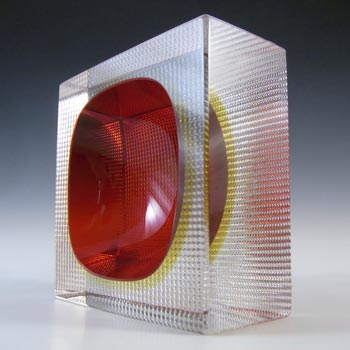 Murano Faceted Red & Amber Sommerso Glass Textured Bowl
