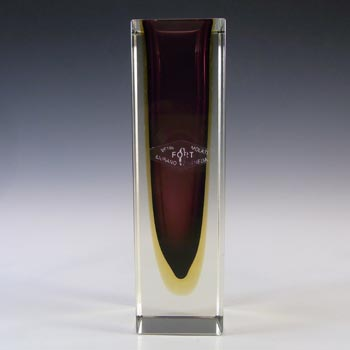 LABELLED Gino Fort Murano Faceted Sommerso Glass Block Vase