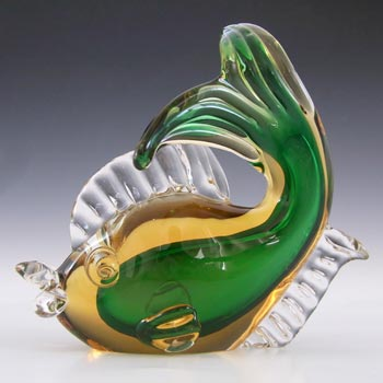 Artistica Murano CCC Vintage Green & Amber Sommerso Glass Fish Sculpture
