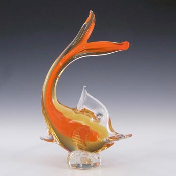 Murano Vintage Orange & Amber Sommerso Glass Fish Sculpture