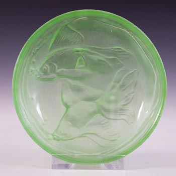 Art Deco Frosted Green Glass Fish Pin Dish / Bowl