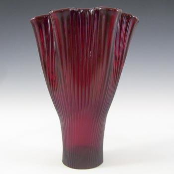 Gullaskruf Swedish Red Glass 'Reffla' Vase by Arthur Percy