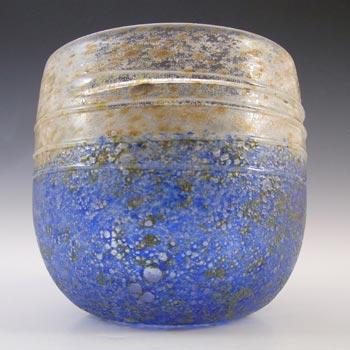 SIGNED Gusum Blue & Brown Swedish Glass Vase by Milan Vobruba
