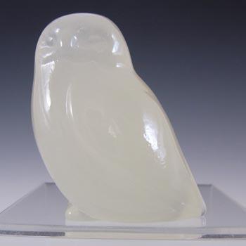 Hadeland Opaline Glass Owl Paperweight - Marked