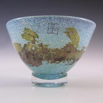 SIGNED & LABELLED Hammar Glashytta Blue & White Glass Bowl