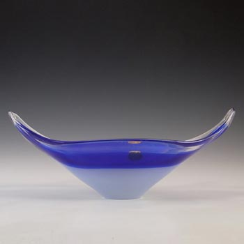 Murano / Venetian Blue & White Cased Glass Boat Shaped Bowl