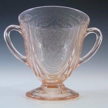 Hazel Atlas Royal Lace Pink Depression Glass Vintage Sugar Bowl