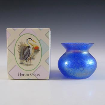 BOXED Heron Glass Blue Iridescent British Vintage Posy Vase