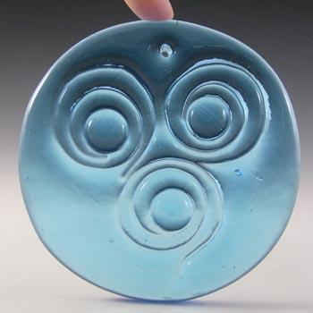 Holmegaard Blue Glass 'Three Circles' Suncatcher