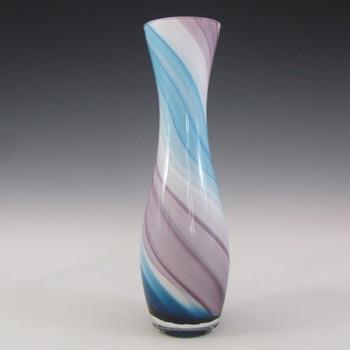 Japanese Kamei / Nasco Blue, Purple & White Art Glass Vase