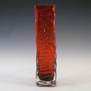 Tajima Japanese 'Best Art Glass' Textured Bark Red Glass Vase