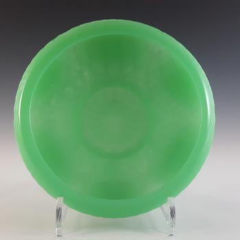 Jobling #9000 Art Deco Uranium Jade Glass Oyster Shell Bowl