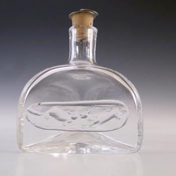 SIGNED Boda Swedish Glass 'Cats' Bottle by Erik Hoglund