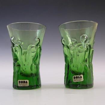 LABELLED Boda Swedish Glass 'Adam & Eve' Shot Glasses by Erik Hoglund