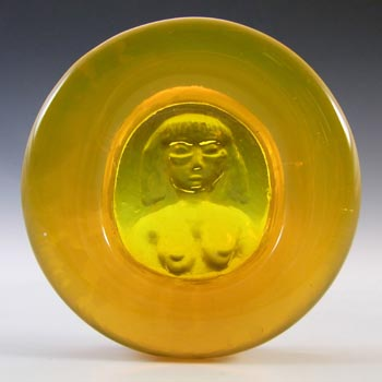 LABELLED Boda Yellow Glass Nude Lady 'Eve' Bowl by Erik Hoglund