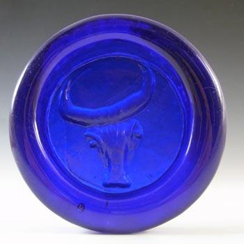 Kosta Boda Swedish Blue Glass Bull Bowl by Erik Hoglund