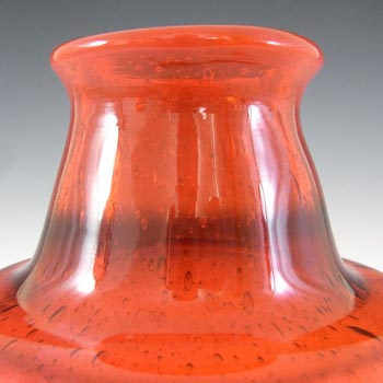 SIGNED Kosta Boda Bubbly Red Glass Vase by Erik Hoglund - Click Image to Close