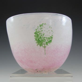 SIGNED Kosta Boda Pink Glass 'May' Bowl by Kjell Engman