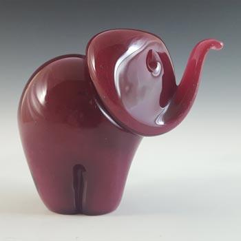 MARKED Langham Pink Glass Vintage Elephant Sculpture