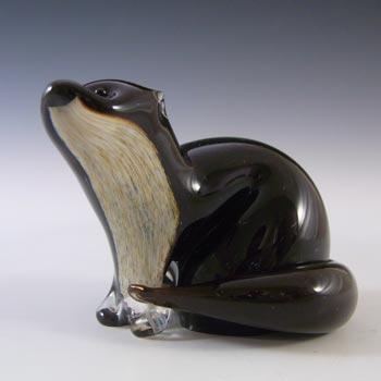SIGNED & MARKED Langham Vintage Brown & Cream Glass Otter