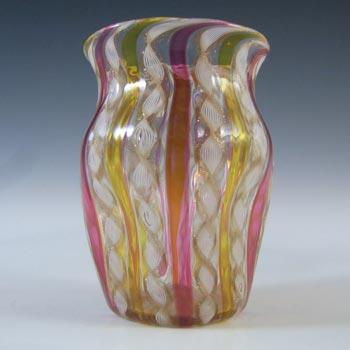 Salviati Murano Zanfirico & Copper Aventurine Glass Vase