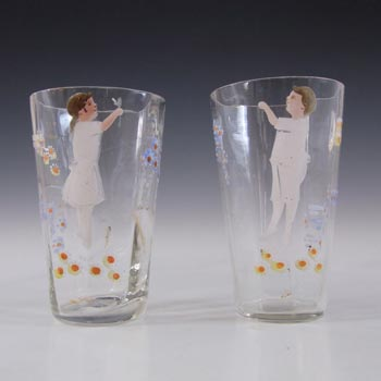 Mary Gregory Pair of Victorian Hand Enamelled Glass Tumblers