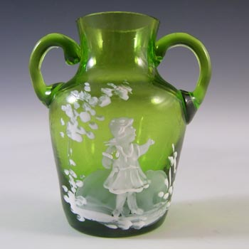 Mary Gregory Victorian Hand Enamelled Green Glass Miniature Vase