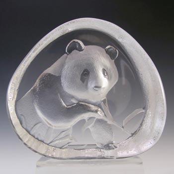 Mats Jonasson #3363 Glass Panda Paperweight - Signed