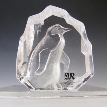 Mats Jonasson #88113 Glass Penguin Paperweight - Signed +Label