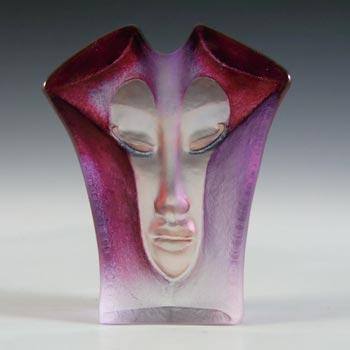 SIGNED Mats Jonasson #8159 Glass 'Morgana' Masqot Face Sculpture