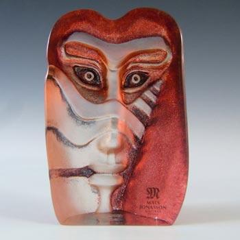 Mats Jonasson #88165 Glass 'Kiwok' Masqot Face Sculpture - Signed