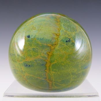SIGNED Mdina Maltese Blue, Yellow & Green Glass Paperweight