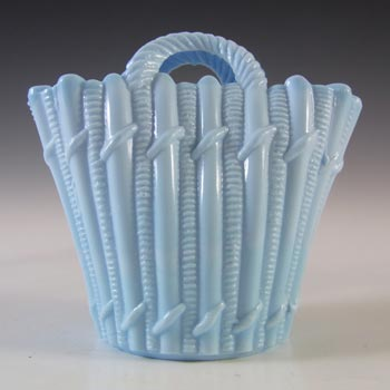 Victorian Blue Milk Glass Vitro-Porcelain Vintage Basket Bowl