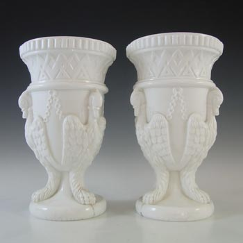 Edward Moore Pair of Victorian White Milk Glass Griffins Vases