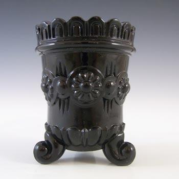 Victorian Black Milk Glass Vitro-Porcelain 'Daisy' Spill Vase