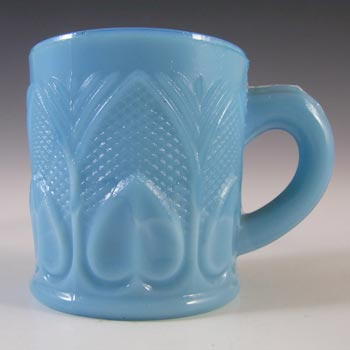 Schmid Verreries French Victorian Blue Milk Glass Mustard Pot