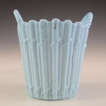 Victorian Blue Vitro-Porcelain / Milk Glass Antique Basket Bowl