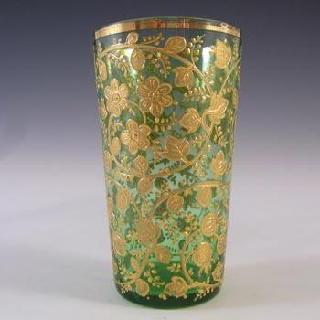 Moser Bohemian Hand Enamelled Green Glass Juice Tumbler